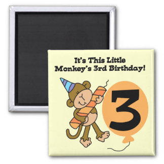 Little Monkey 3rd Birthday Tshirts and Gifts Magnet