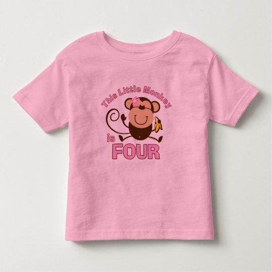 Little Monkey 4th Birthday Girl Toddler T-shirt