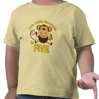 Little Monkey 5th Birthday Boy T Shirts