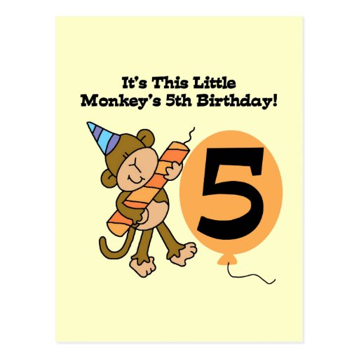Little Monkey 5th Birthday Tshirts and Gifts Postcard