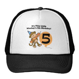 Little Monkey 5th Birthday Tshirts and Gifts Trucker Hat