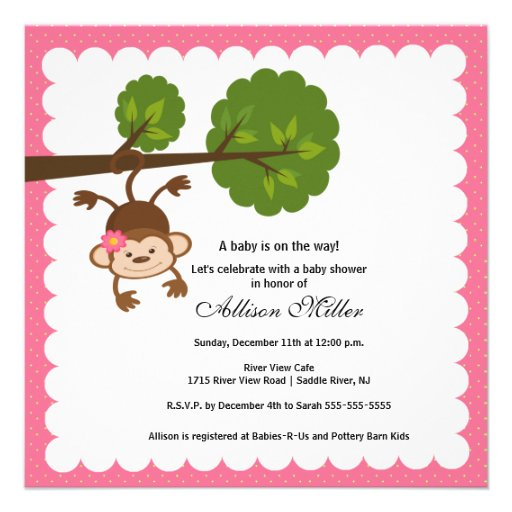 little monkey baby girl shower invitation zazzle