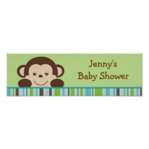 Little Monkey Baby Shower Banner Sign