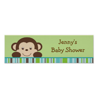 Little Monkey Baby Shower Banner Sign Posters
