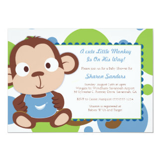 Little Monkey - Baby Shower Invitation - BOY