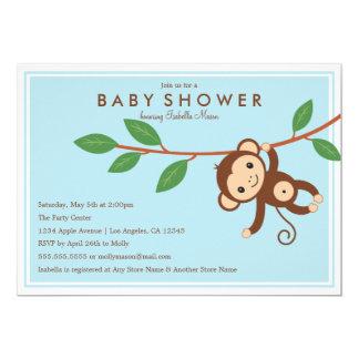 Little Monkey - Blue | Baby Shower Invite