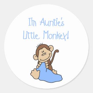 Little Monkey Blue T-shirts y regalos de tía Etiqueta Redonda