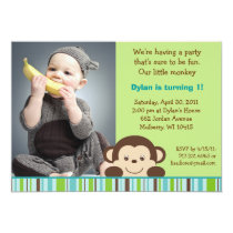 Little Monkey Custom Photo Birthday Invitations