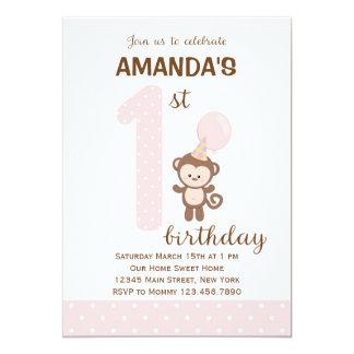 Little Monkey First Birthday Invitation (Pink)