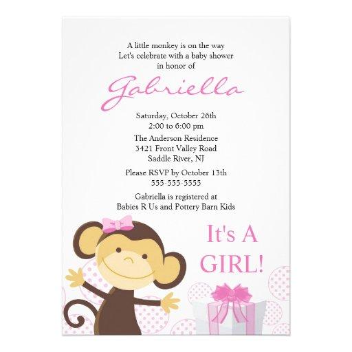 little monkey girl baby shower invitation 5 x 7 invitation card