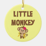 Little Monkey (Girl) Double-Sided Ceramic Round Christmas Ornament