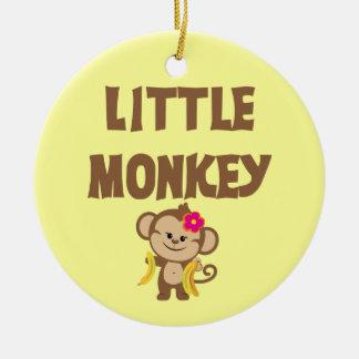Little Monkey (Girl) Double-Sided Ceramic Round Christmas Ornament
