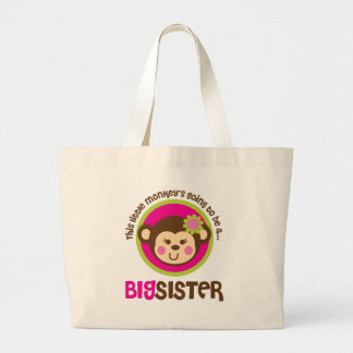 Little Monkey Going To Be A Big Sister Large Tote Bag