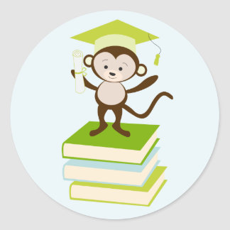 Little Monkey - Green Classic Round Sticker