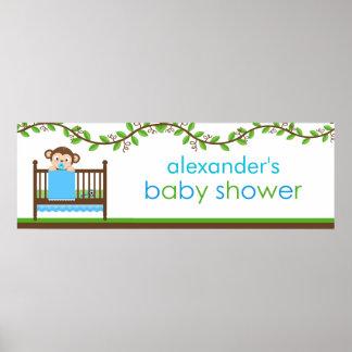 Little Monkey in a Crib Boy Baby Shower Banner Poster