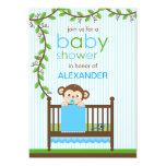 Little Monkey in a Crib Boy Baby Shower 5x7 Paper Invitation Card