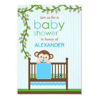 Little Monkey in a Crib Boy Baby Shower 5x7 Paper Invitation Card