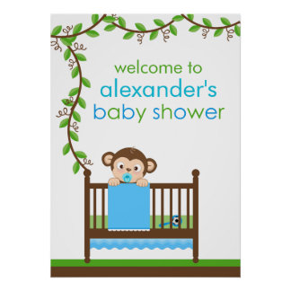 Little Monkey in a Crib Boy Baby Shower Poster