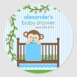 Little Monkey in a Crib Boy Baby Shower Sticker