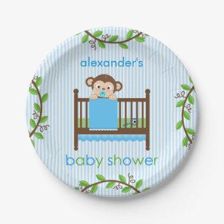 Little Monkey in a Crib Boy Paper Plate