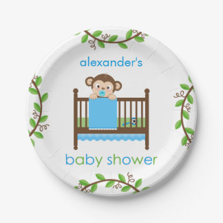 Little Monkey in a Crib Boy Paper Plate 7 Inch Paper Plate