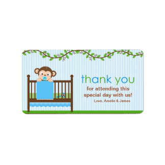 Little Monkey in a Crib Boy Thank You Label
