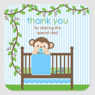 Little Monkey in a Crib Boy Thank You  Sticker
