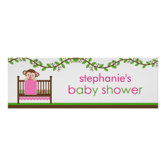 Little Monkey in a Crib Girl Baby Shower Banner Poster