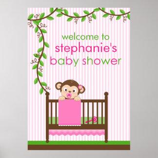 Little Monkey in a Crib Girl Baby Shower Poster