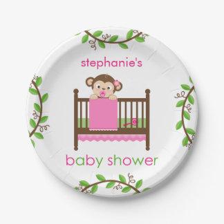 Little Monkey in a Crib Girl Paper Plate