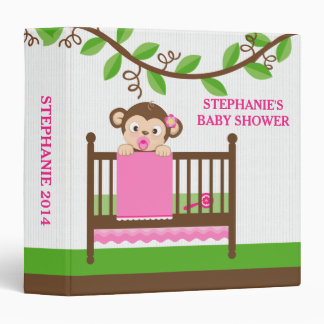 Little Monkey in a Crib Girl Photo Album Binder