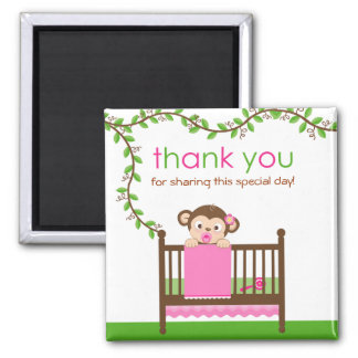 Little Monkey in a Crib Girl Thank You Magnet
