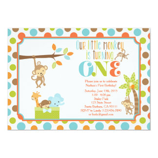 Little Monkey Jungle Animals First Birthday Invita Card
