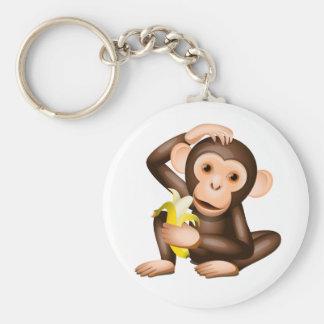 Little monkey basic round button keychain