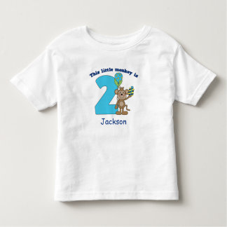 Little Monkey Kids 2nd Birthday Personalized Toddler T-shirt