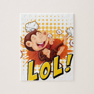 Little monkey laughing on the floor jigsaw puzzle