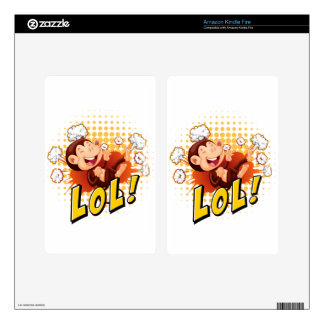 Little monkey laughing on the floor skin for kindle fire
