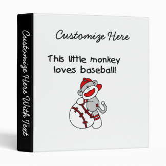 Little Monkey Loves Baseball  T-shirts and Gifts 3 Ring Binder