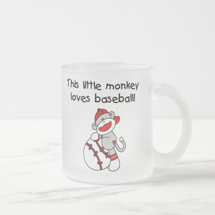 Little Monkey Loves Baseball  T-shirts and Gifts Frosted Glass Coffee Mug