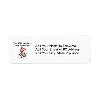 Little Monkey Loves Baseball  T-shirts and Gifts Return Address Label