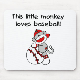 Little Monkey Loves Baseball  T-shirts and Gifts Mouse Pad