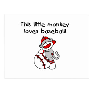 Little Monkey Loves Baseball  T-shirts and Gifts Postcard