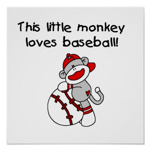 Little Monkey Loves Baseball  T-shirts and Gifts Poster
