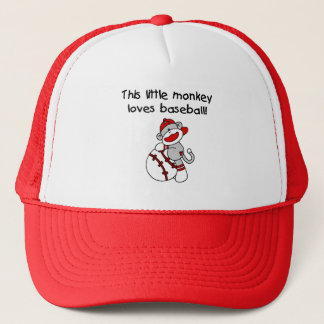 Little Monkey Loves Baseball  T-shirts and Gifts Trucker Hat