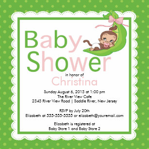 Monkey baby shower invitations zazzle little monkey pea pod baby shower invitations filmwisefo