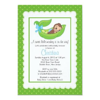 Little Monkey Pea Pod Baby Shower Invitations