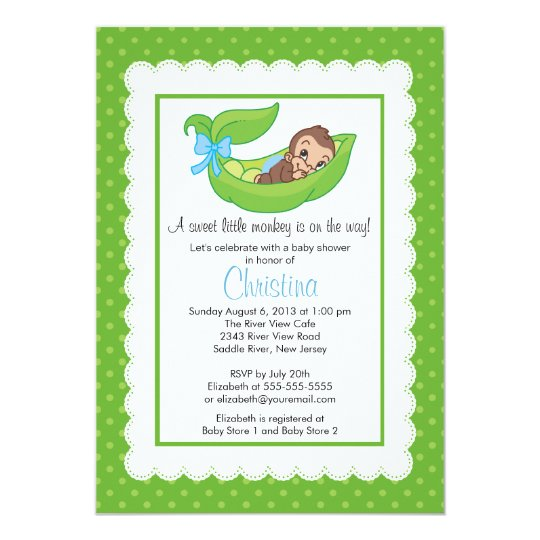 Little monkey pea pod baby shower invitations zazzle little monkey pea pod baby shower invitations filmwisefo