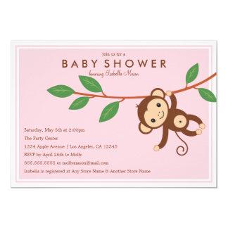Little Monkey - Pink | Baby Shower Invite