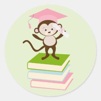 Little Monkey - Pink Classic Round Sticker