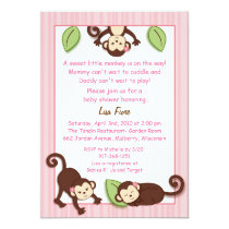 Little Monkey Pink Girl Baby Shower Invitations